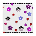 Hearts and Flowers Tile Coaster