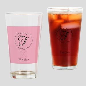 Cute Pink Monogram Drinking Glass