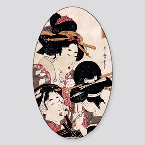 Ukiyoe Geisha Night Out Oval Sticker