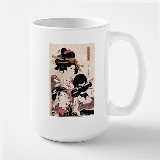Ukiyoe Geisha Night Out Large Mug