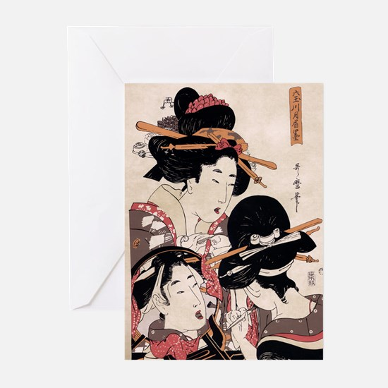 Ukiyoe Geisha Night Out Greeting Cards (Package of