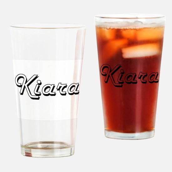 Kiara Classic Retro Name Design Drinking Glass