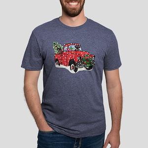 Black Lab Christmas Red Tru Mens Tri-blend T-Shirt