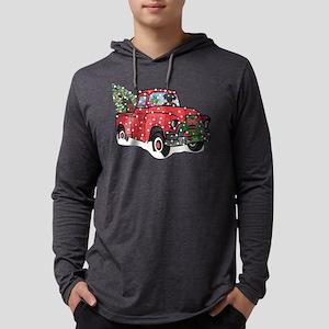 Black Lab Christmas Red Truck Mens Hooded Shirt