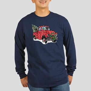 Black Lab Christmas Red T Long Sleeve Dark T-Shirt