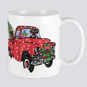 Black Lab Christmas Red Truck 11 oz Ceramic Mug