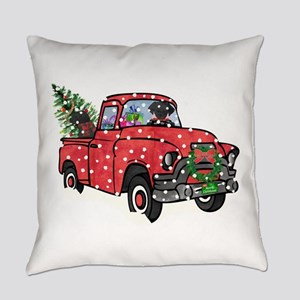 Black Lab Christmas Red Truck Everyday Pillow