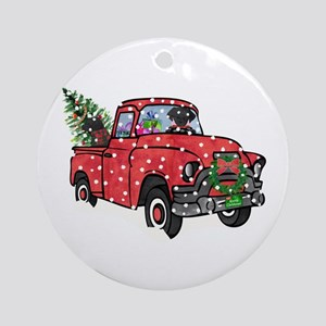 Black Lab Christmas Red Truck Round Ornament
