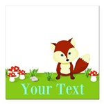Personalizable Fox in the Woods Square Car Magnet