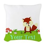 Personalizable Fox in the Woods Woven Throw Pillow