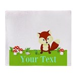 Personalizable Fox in the Woods Throw Blanket