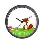 Personalizable Fox in the Woods Wall Clock