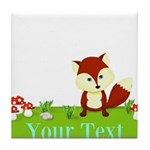 Personalizable Fox in the Woods Tile Coaster