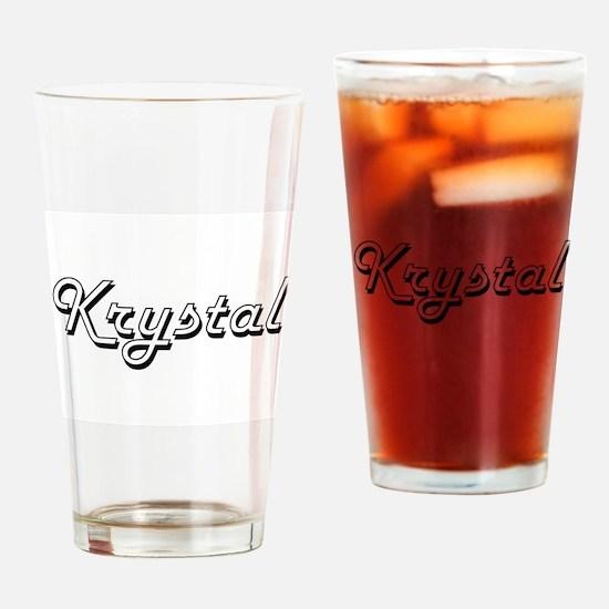 Krystal Classic Retro Name Design Drinking Glass