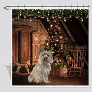 Cairn Terrier Christmas Shower Curtain