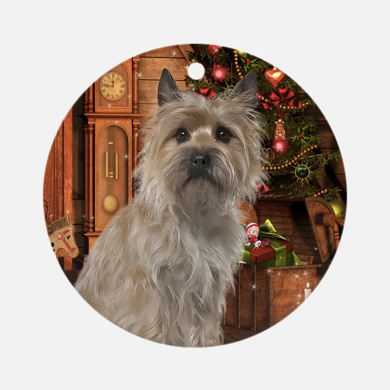 Cairn Terrier Christmas Ornament (Round)