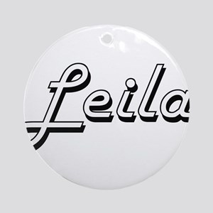 Leila Classic Retro Name Design Ornament (Round)