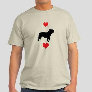 French Bulldog Red Hearts Light T-Shirt