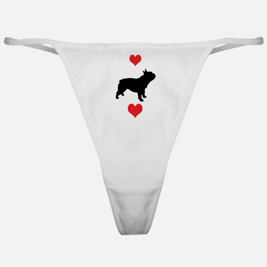 French Bulldog Red Hearts Classic Thong