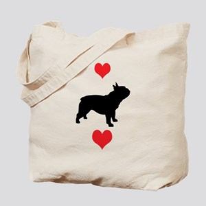 French Bulldog Red Hearts Tote Bag
