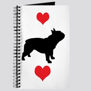 French Bulldog Red Hearts Journal
