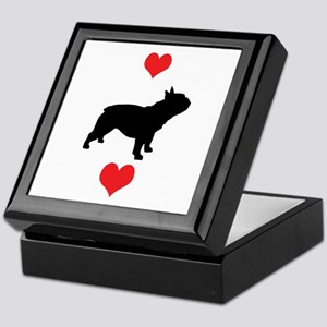 French Bulldog Red Hearts Keepsake Box