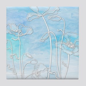Watercolor in Blue with Poppies Tile Coaster