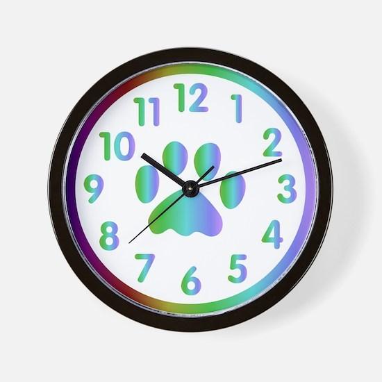 Funny Rainbow paws Wall Clock