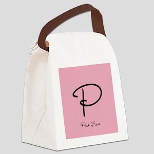 Cute Pink Monogram Canvas Lunch Bag