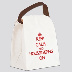 Keep Calm and Housekeeping ON Canvas Lunch Bag