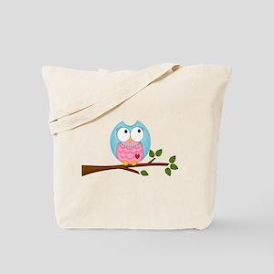 Pink Blue Owl in Pearls Branch Tote Bag