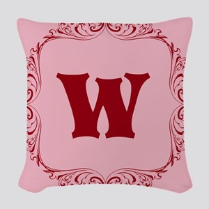 CUSTOM Monogram Florid Block Red/Pink Woven Throw