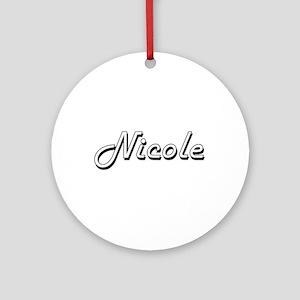 Nicole Classic Retro Name Design Ornament (Round)