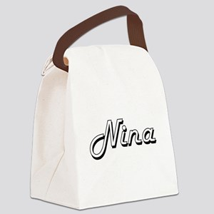 Nina Classic Retro Name Design Canvas Lunch Bag