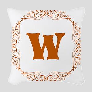 CUSTOM Monogram Florid Block Orange/Tan Woven Thro