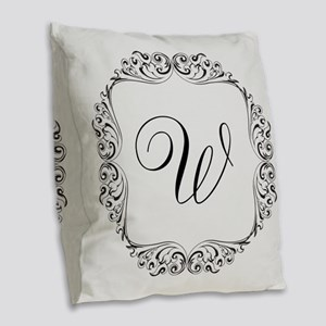 CUSTOM Monogram Florid Script Black Burlap Throw P