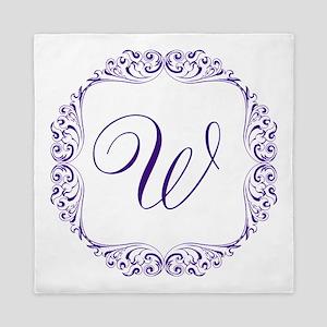CUSTOM Monogram Florid Script Purple Queen Duvet