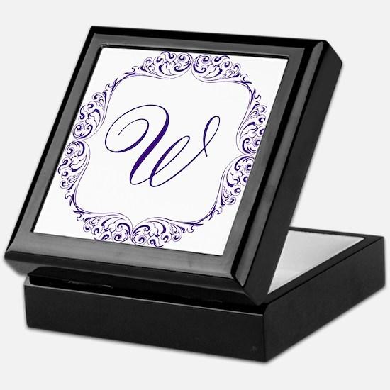 CUSTOM Monogram Florid Script Purple Keepsake Box
