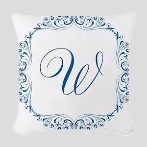 CUSTOM Monogram Florid Script Blue Woven Throw Pil