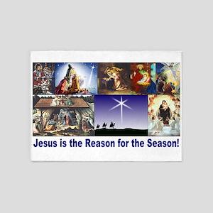 Christmas Nativity Medley 5'x7'Area Rug