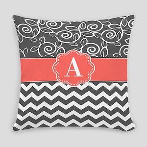 Gray Coral Swirls Chevron Monogram Everyday Pillow