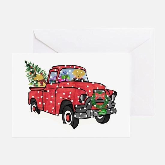 Golden Retrievers Xmas Red Truck Greeting Card