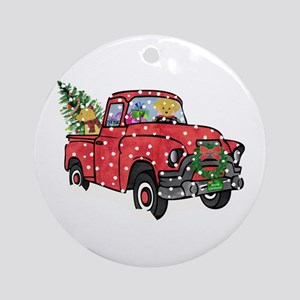 Golden Retrievers Xmas Red Truck Round Ornament