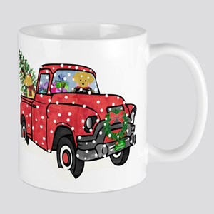 Golden Retrievers Xmas Red Truck 11 oz Ceramic Mug
