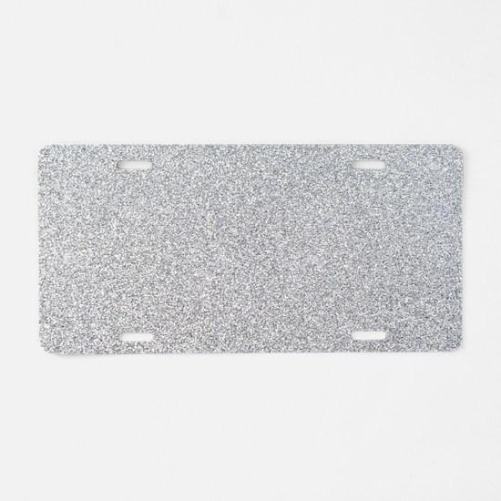 Silver Glitter Aluminum License Plate