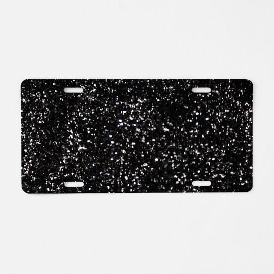 Black Glitter Aluminum License Plate