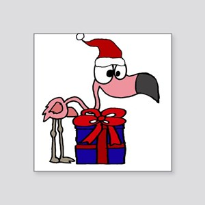 Funny Flamingo and Christmas Gifts Sticker