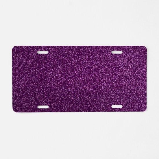 Purple Glitter Aluminum License Plate