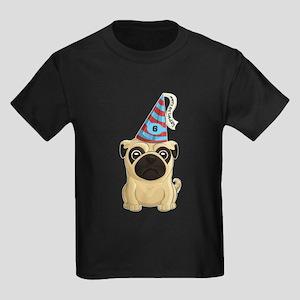 6th Birthday Pug Kids Dark T-Shirt