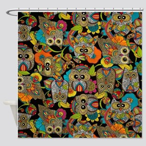 Owls Print Shower Curtain